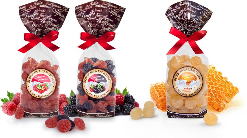 Bonbons sucre cuit à l'ancienne, Eden Chocolats artisan confiseur 73800 les marches savoie. Bonbons à la framboise, mûre, miel fondant.