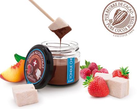 fondue au chocolat au lait 38% de cacao avec ses cubes de guimauves artisanale