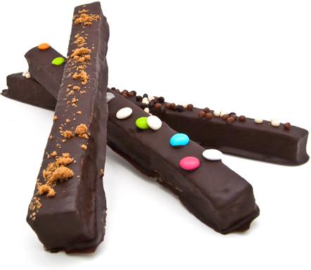 lanières de guimauve artisanale enrobées de Chocolat Noir intense