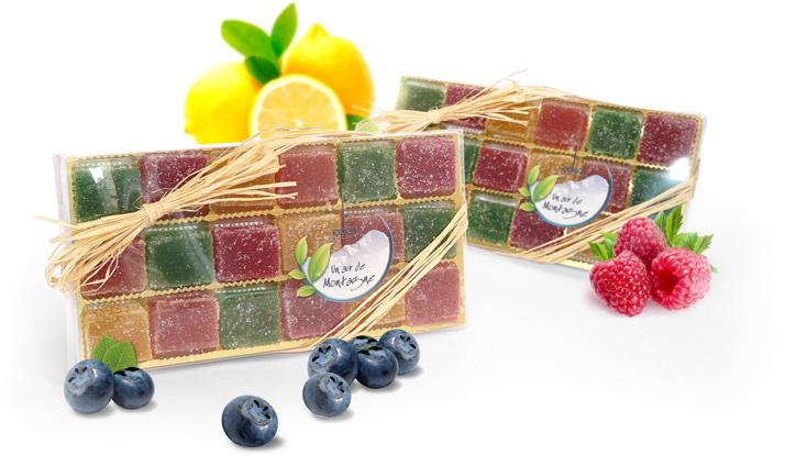 Pâtes de fruits à la myrtille, framboise, citron, pomme verte, eden chocolats artisan confiseur 73800 les marches savoie.