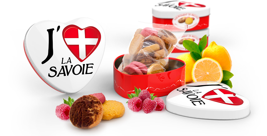 Boites coeur en fer décor j'aime la savoie, Eden Chocolats 73800 les marches savoie. Fabrique artisanale et familiale de biscuits.