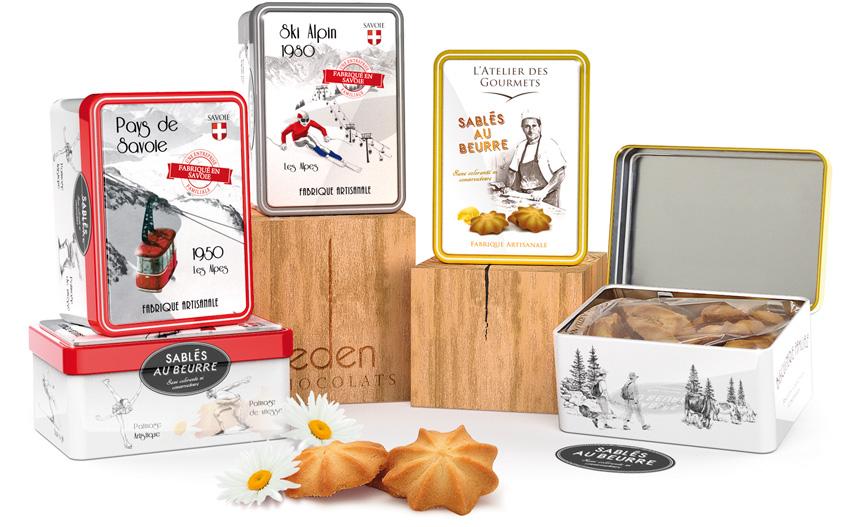 Boites en fer décor vintage télécabine ou ski alpin. Eden Chocolats 73800 les marches Savoie, artisan biscuitier, sablés savoyards au lait entier de Savoie.