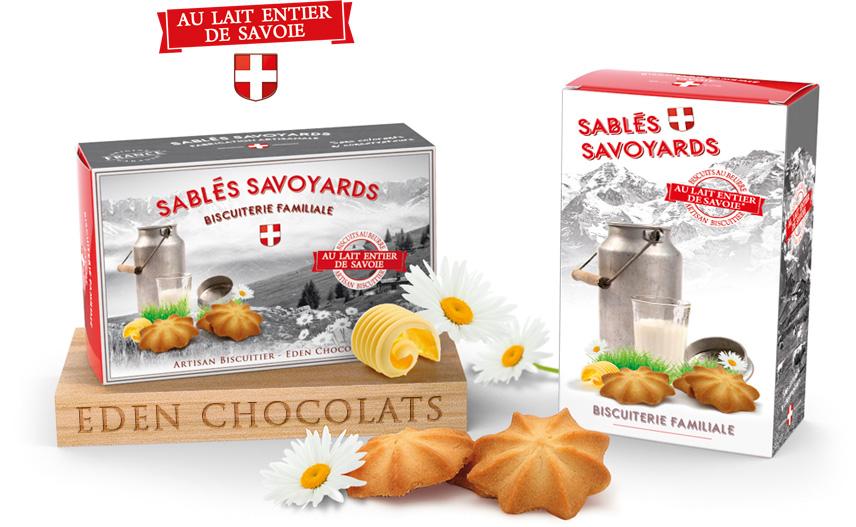 Coffret cadeau sablés savoyards au lait entier de savoie. Eden Chocolats 73800 les Marches. Fabrique artisanale et familiale de biscuits.