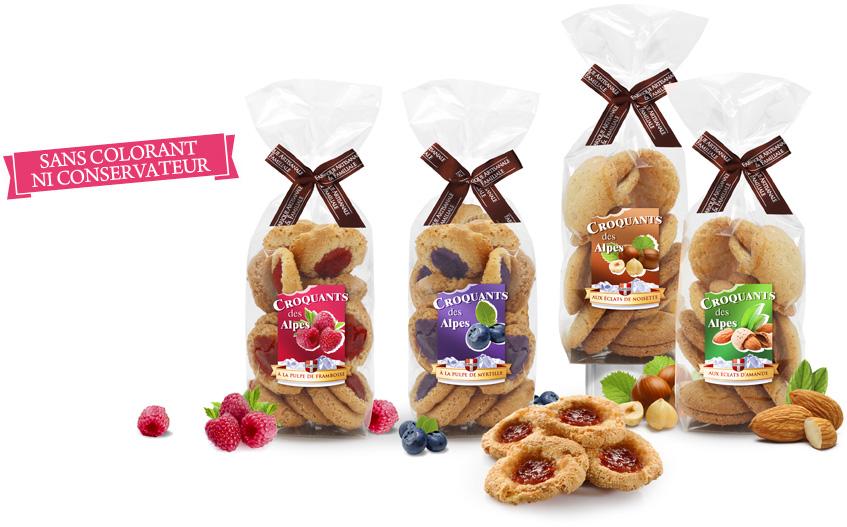 Croquants des alpes à la confiture de myrtille, framboise, noisette ou amandes. Eden chocolats fabrique artisanale et familiale savoie 73800 Porte-de-Savoie..