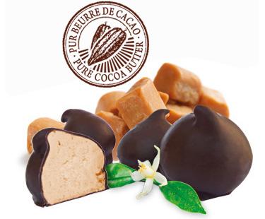 meringues caramel au beurre salé enrobées de chocolat noir intense 72% de cacao par Eden Chocolats à Les Marches 73800 Porte de Savoie